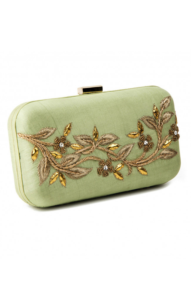 Silk Clutch Pista Green With Gotta Patti, Zardosi, Moti, Jarkan, Aari Kasab Work