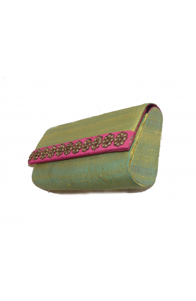 Ranas Light Green Raw Silk clutch Bag 1397
