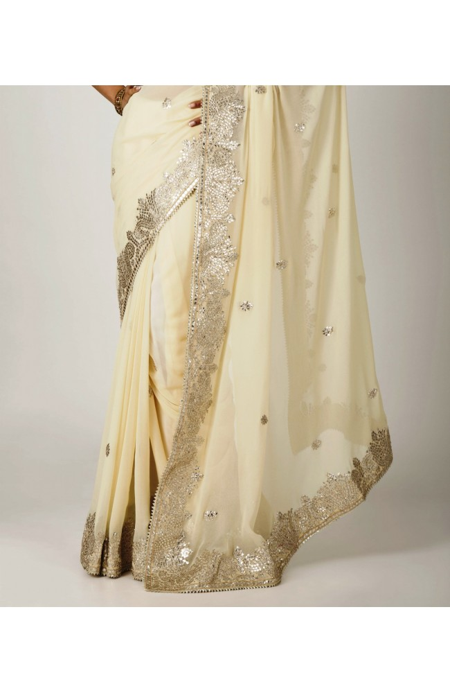 Ranas Cream Beige Georgette Pure Gota Patti Work Saree