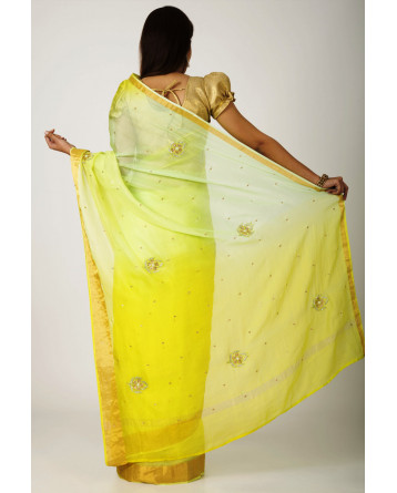 Ranas Green Yellow shaded Kota Silk zari Border Cutdana, bead,Crystal  Buti Work Saree