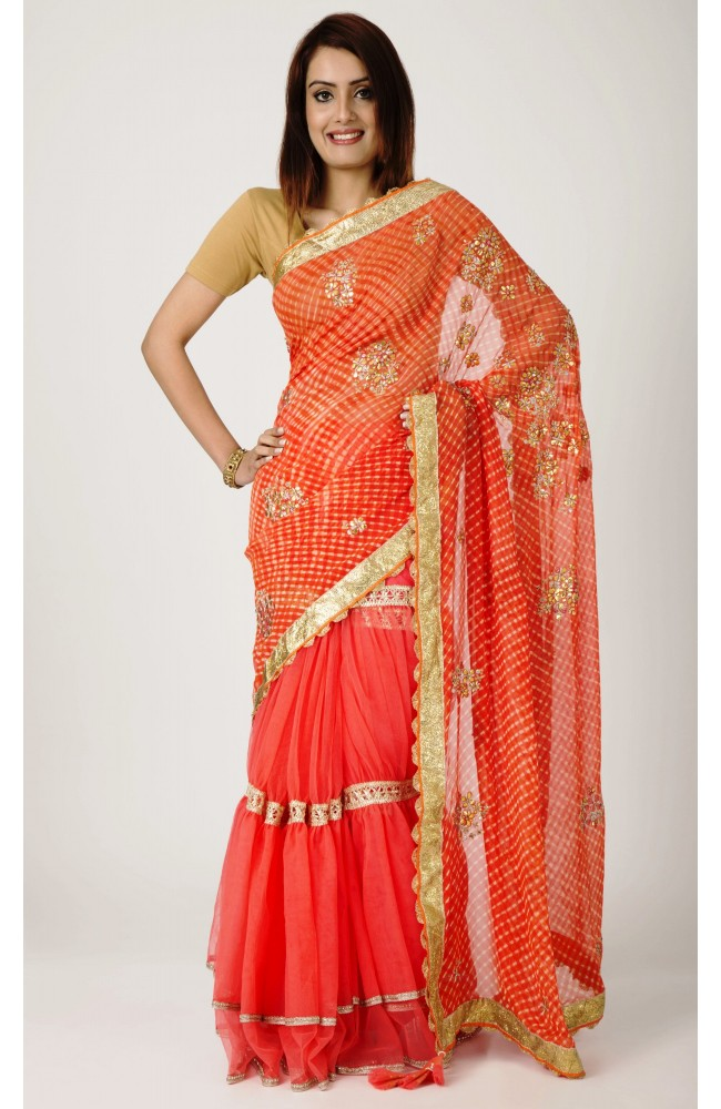 Ranas Orange Peach Half Georgette Half Net Gota Patti  Aari, Gota Lappa Work Saree