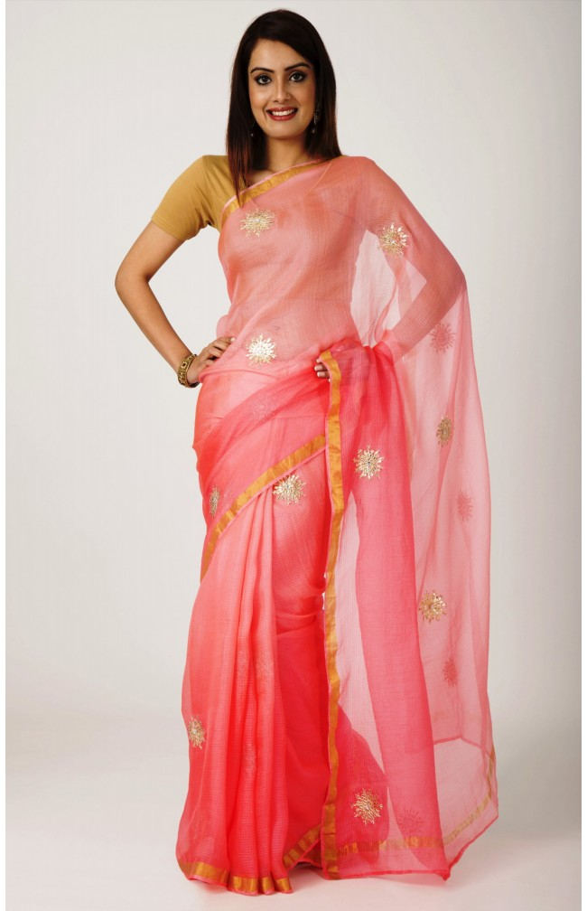 Ranas Peach Kota Silk  Zari Border  gota patti Work Saree