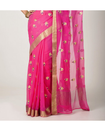 Ranas Peach Chiffon zari Border Woven zari Border &  gota patti Work Work Saree