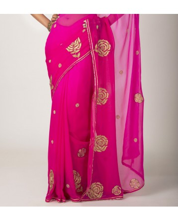 Ranas Rani Pink  Georgette Sequence  Moti zari Work Saree