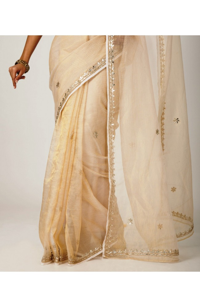 Ranas Cream Off White kota Tissue gota patti Work Saree