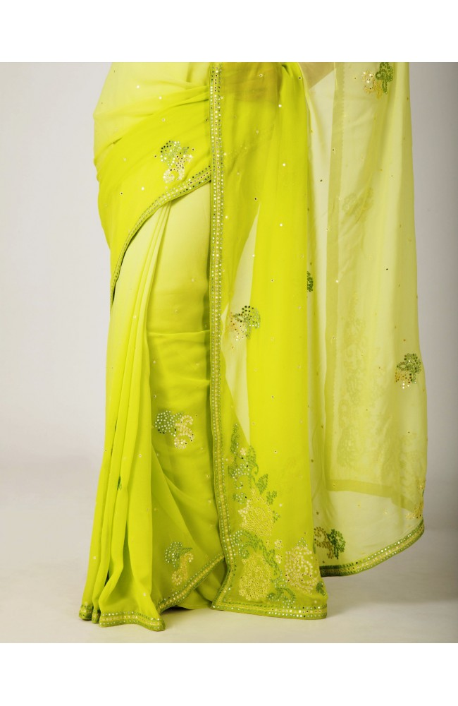 Ranas light green Georgette Mirror Work Saree