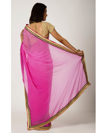 Ranas mukesh with kundan border Rani Pink pink zari Lace Work Saree