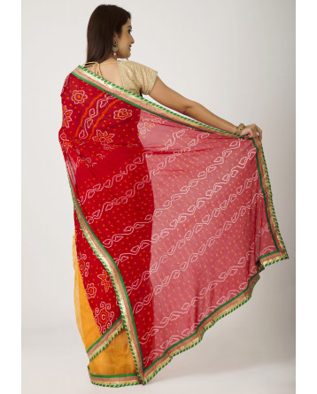 Ranas Red + Golden Yellow Half  Bandage  Half kota Zari None Work Saree
