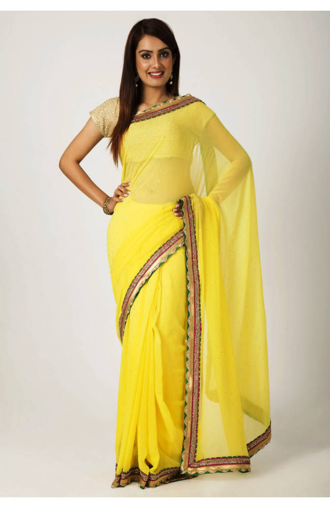Ranas Yellow Faux  Georgette mukesh with kundan border Work Saree