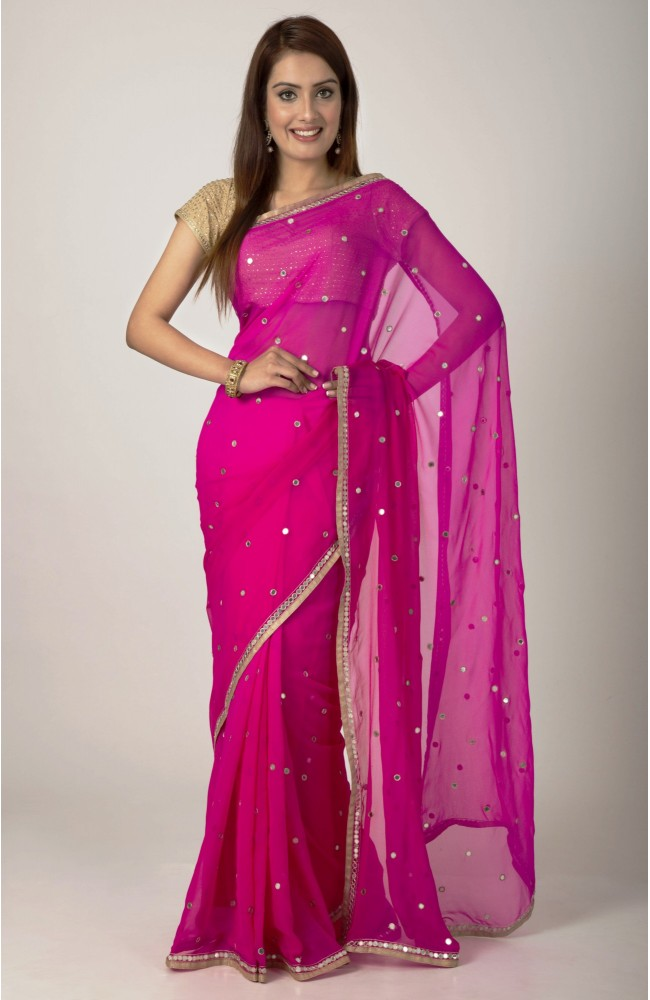 Ranas Rani Pink Georgette Mirror Raw  Work Saree