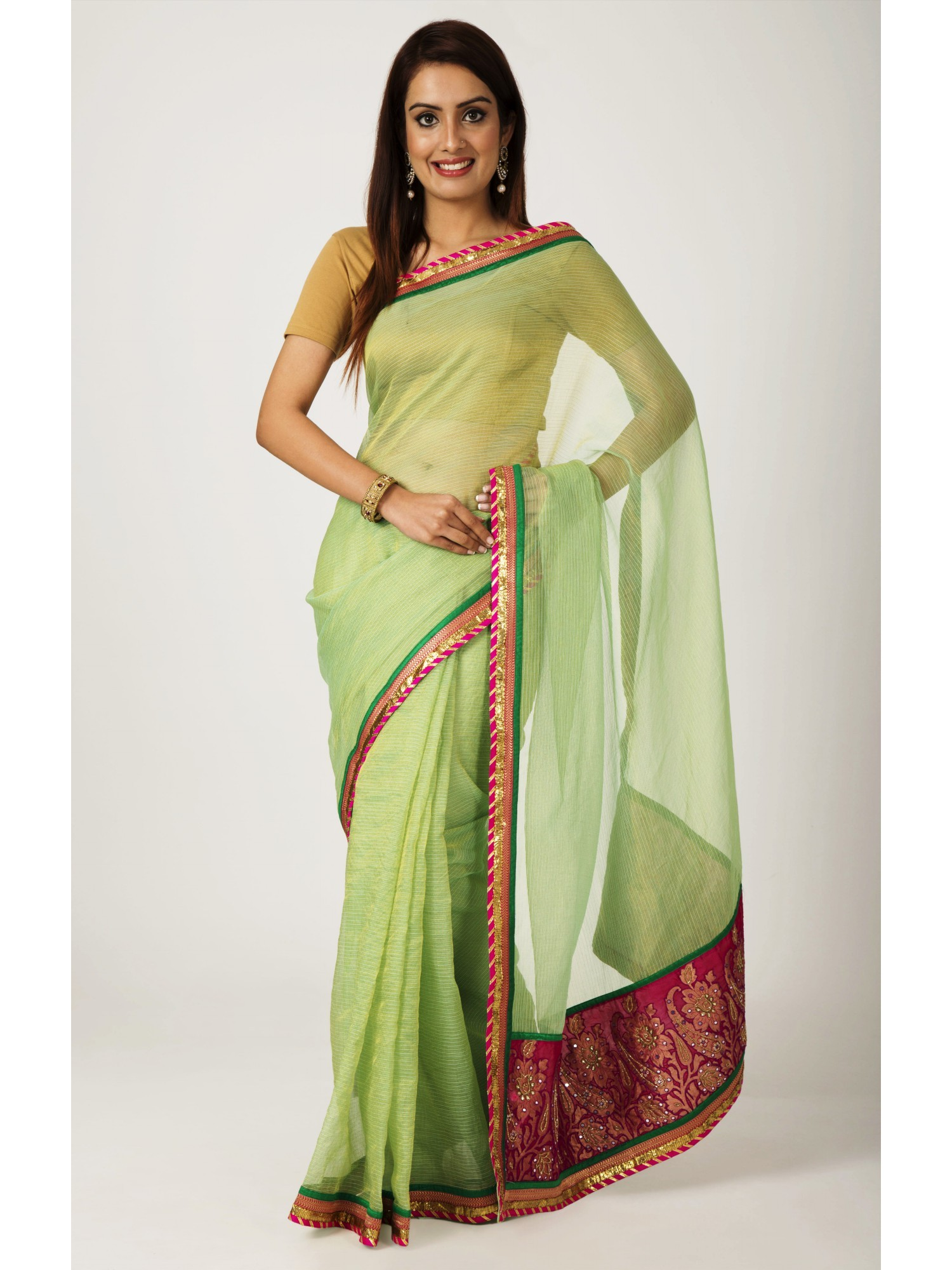 Ranas rama green zari kota tissu cutdana mirror work saree for Mirror work saree