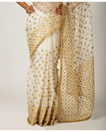 Ranas cream Kota  Silk Gotadori Gota Buti Work Saree
