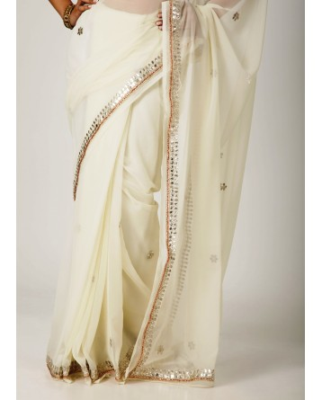 Ranas White Faux  Georgette Gota Patti Work Saree