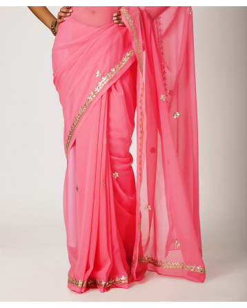 Ranas Peach Faux  Georgette Gota Patti Work Saree