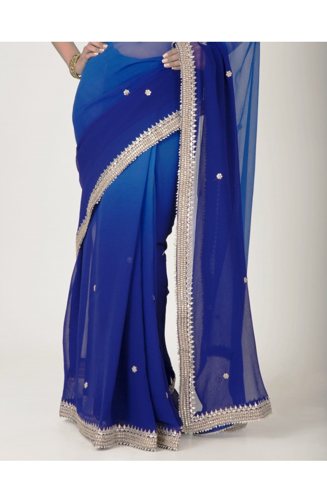 Ranas Navy Blue Chiffon  Gota Kundan Work Saree