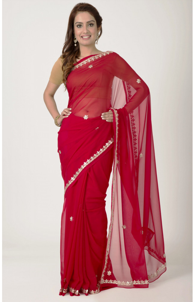 Ranas Red Faux  Georgette Gota Patti Work Saree