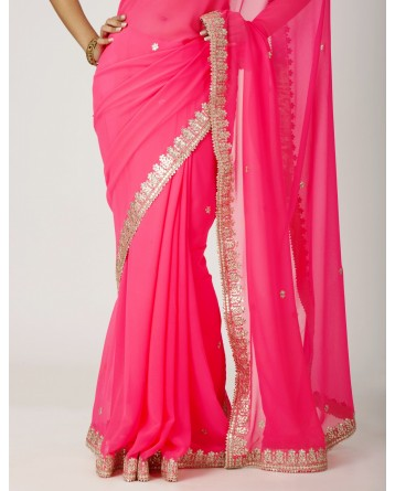Ranas Dark Peach Art  Georgette Gota Patti Work Saree
