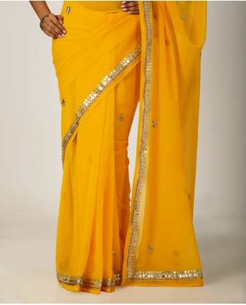 Ranas Yellow Faux  Georgette Gota Patti Work Saree
