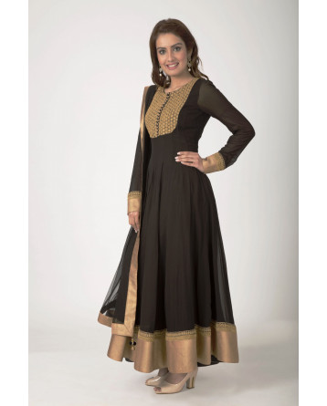 Ranas Black Faux Georgette Marori work with sequence hand work Salwar Kameez