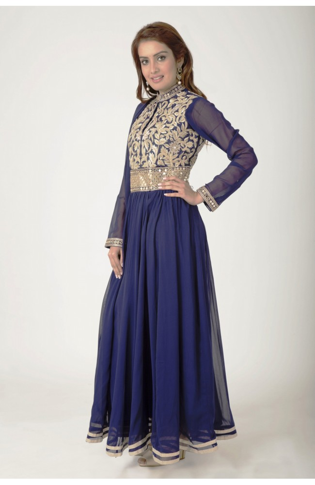 Ranas Navy blue Art Georgette Thread, Zardozi, mirror Work Salwar Kameez