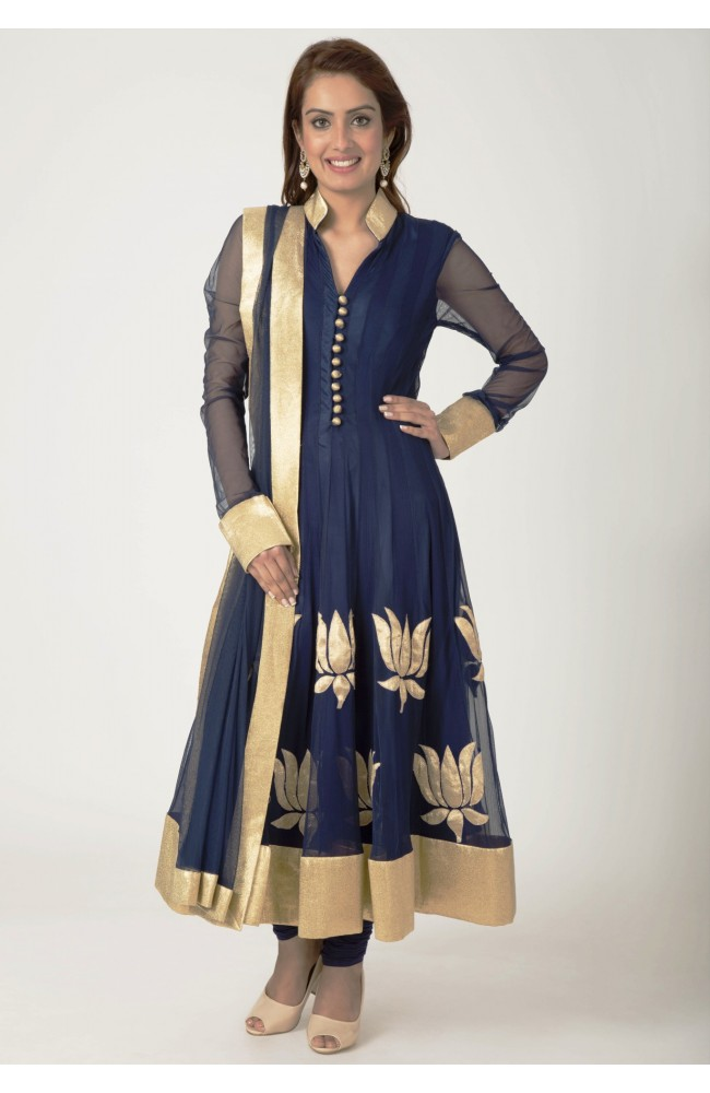 Ranas Blue Chiffon , Net lurex patch Work Salwar Kameez