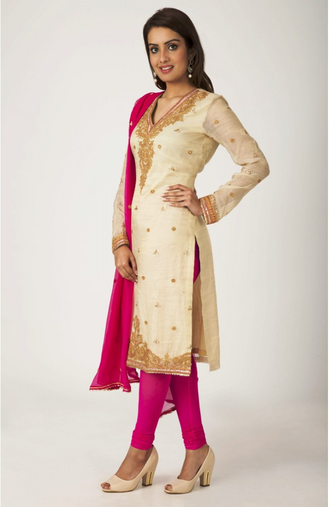 Ranas Golden , chanderi  tissue chanderi  Dori Sequence Work Salwar Kameez