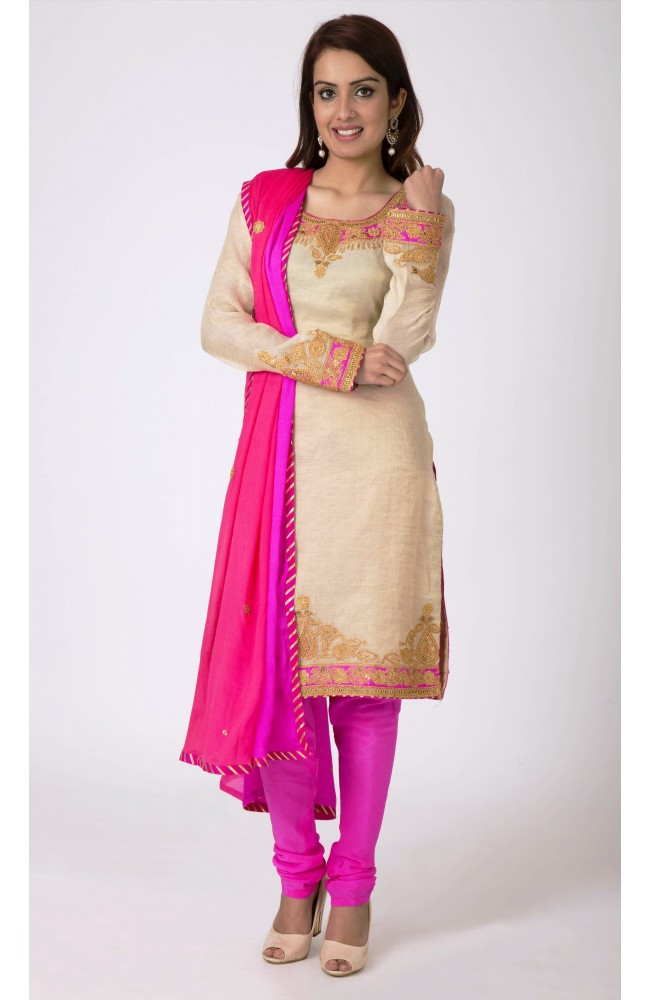 Ranas Cream  Golden, Chandari tissue  Marori ,Sequence  Work Salwar Kameez