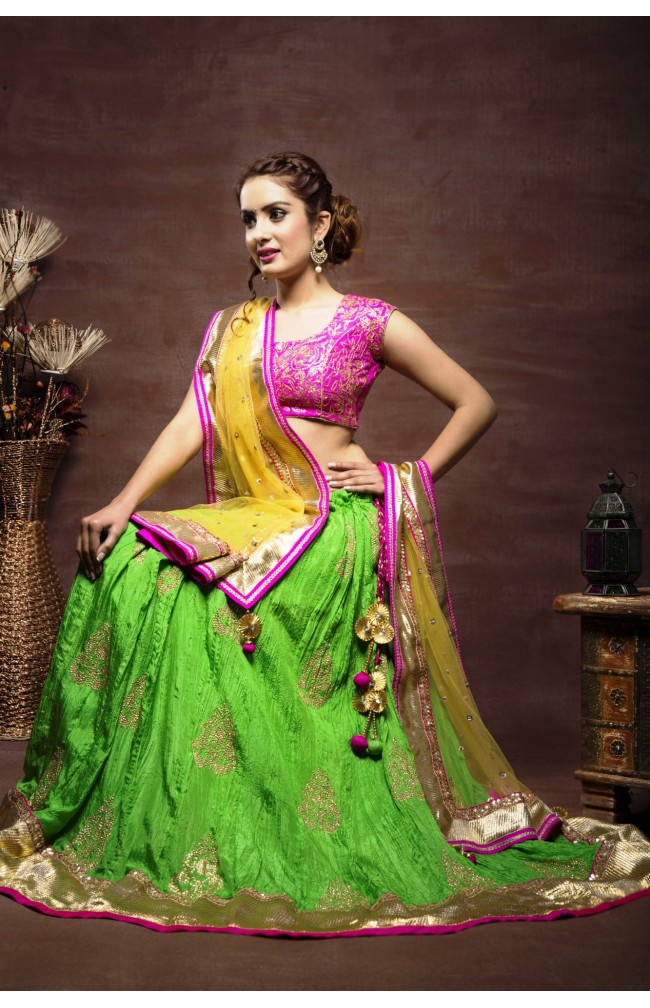 Ranas Green Silk Sequence Work Lehenga
