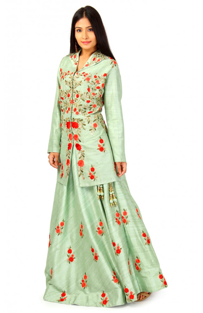 Raw Silk Jacket Lehenga