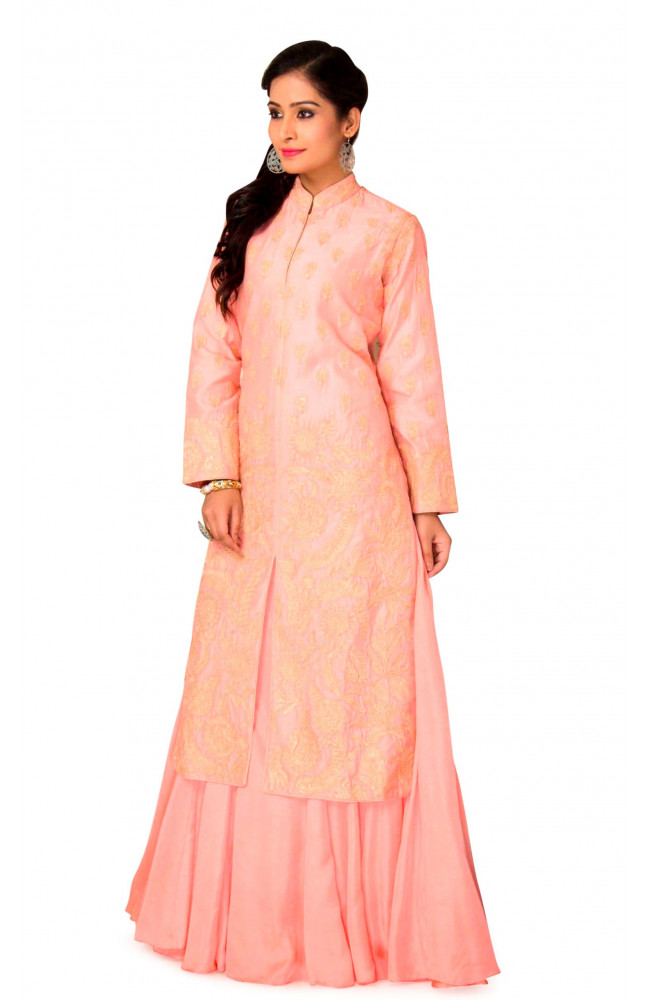 Raw Silk Jacket With Kalidar Lehenga in Peach Color