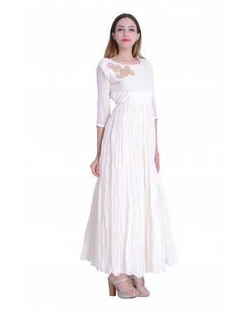 Designer Gown In Off White Color