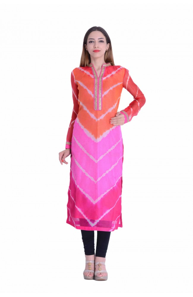 Designer Kurti In Multi Leheriya