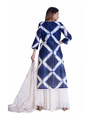 Designer Chanderi Suit In Blue & Off White