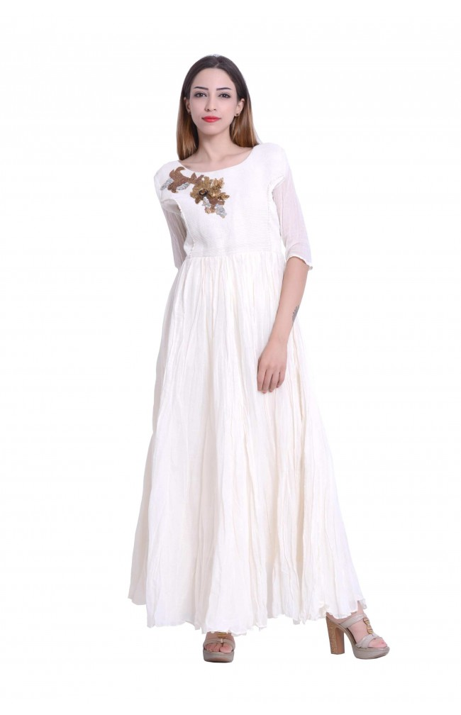 Designer Gown in creme color