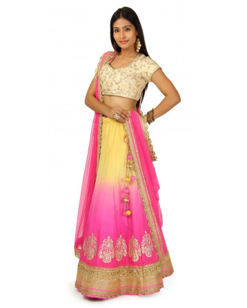 Raw Silk yellow Pink Shaded Lehenga