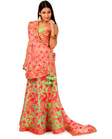 Raw Silk Green & Peach Color Net Lehenga