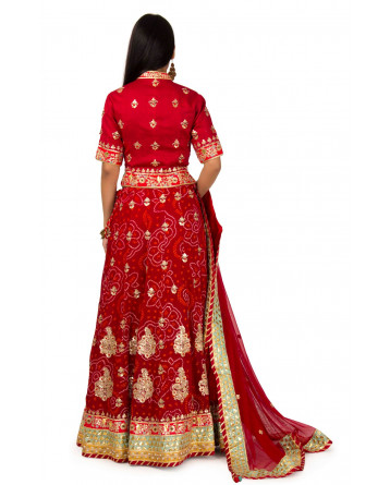 Raw Silk Mehroon  Color lehenga