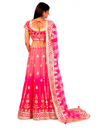Georgette Lehenga In Peach Pink Shade
