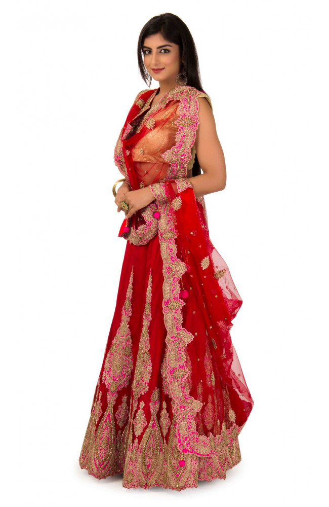 Lehenga In Red Color With Contrast Pink
