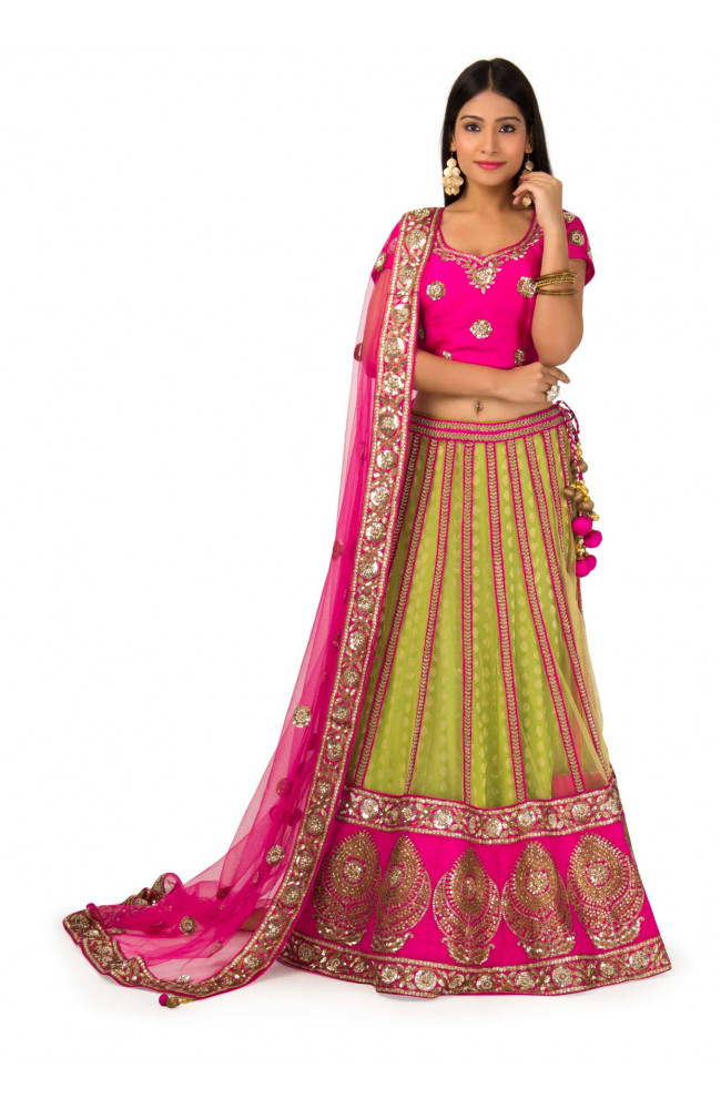 Raw Silk Lehenga in Green & pink Color