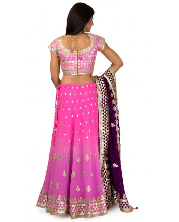Silk Lehenga In Pink & Purple Shade