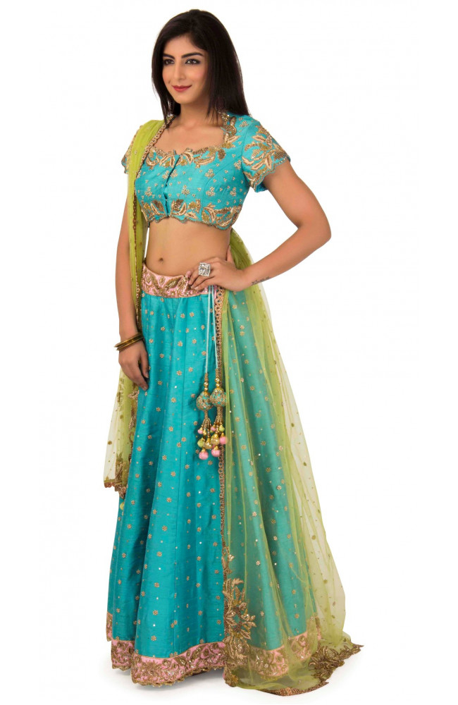 Raw Silk Lehenga In Firozi Color