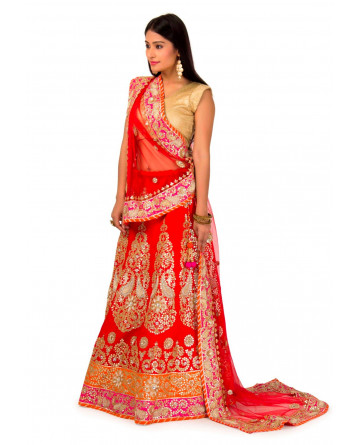 Raw silk Lehenga In Red Color
