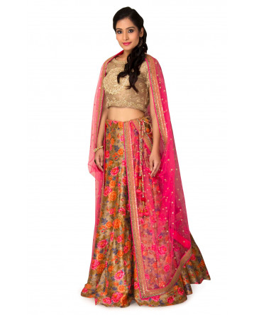 Raw Silk Lehenga In Golden & Pink Color
