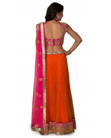 Lehenga In Raw Silk In Orange  & Pink Color