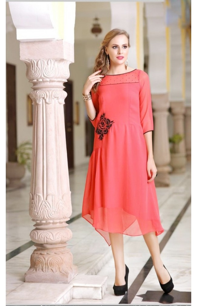 Embroidered Peach Color  Stiched  Suit