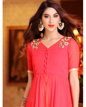 Embroidered Peach Color Stiched Kurti