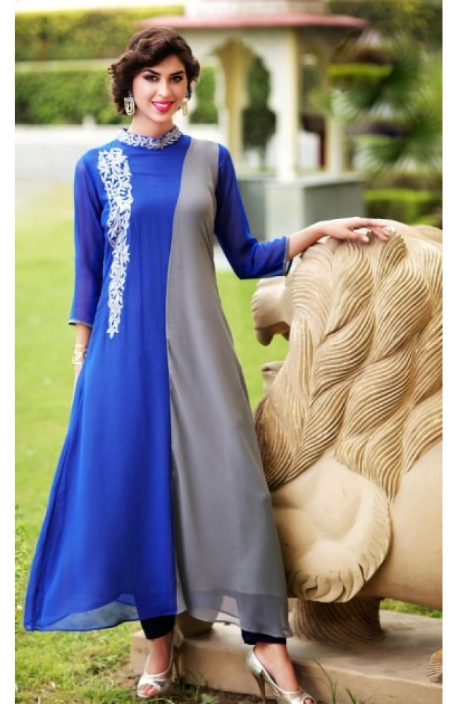Grey & Blue Color Stiched Kurti With Thread Embroidery