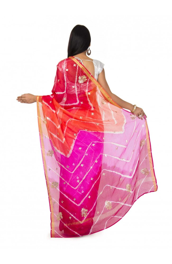 Kota Silk Saree In Multi Leheriya