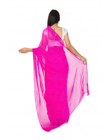 Georgette Mothda Leheriya Saree In pink  Color